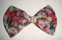 Sell flowery chiffon bow hairclip