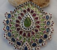 PENDENT WITH REAL MULTICOLORS GEMS