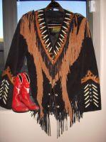 Ladies black/brown fringe w/bone jacket (All sizes avbl)