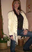 Ladies Naked Lambskin Fringed Jacket w/bone (Large only)