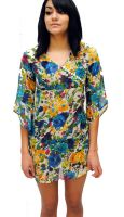 Sell Floral Print Sheer Swimsuit Cover Up