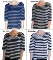 Sell Juniors Trendy Striped Boat Neck Tops