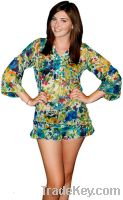 Sell Spring Daffodil Floral Print Ruffled Cover Up