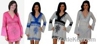 Sell Ladies Black Lace Long Sleeve White knee length dress with embroi