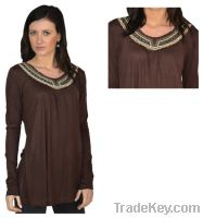 Sell BROWN Long Sleeve Embroidered Neckline Sequence Tunic Top