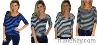 Sell Boat Neck Striped Slub Top, Blue / Navy