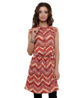 Ladies ruched waist cap sleeve abstract print tunic dress-red-VGS-335