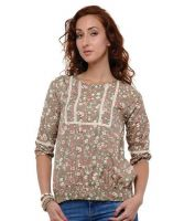 Sell Floral Print Quarter Sleeve Peasant Blouse-Olive Green- VGS-283GR