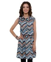 Sell Ladies Ruched Waist Cap Sleeve Abstract Print Tunic Dress-VGS-264