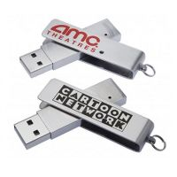 Stainless Steel Swivel USB Flash Drive 128mb, 256mb, 512mb, 1GB