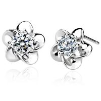 Sell fashion silver  earrings, plum flower stud earrings