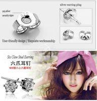 Sell sell  silver earrings, zircon crystal jewelry