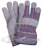 Leather Working Safety Gloves Blue