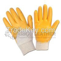 Yellow Nitrile Coated Gloves, Knitted wrist Safety Glove