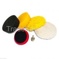 "Car 3"" Buffing & Polishing Pad Kit - Foam & Wool Pads - Velcro Back"
