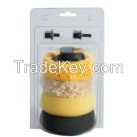 Mini auto use Buffing & Polishing Pad Kit - Foam & Wool Pads - Velcro Back