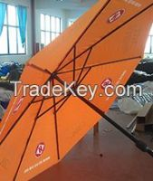 wooden parasol umbrella with custom made, screen printed canopy