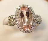 925 Silver Ring with Morganite (LMO1001)