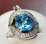925 Silver with Blue Topaz Pendant (LBT-1003)