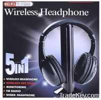 Sell HI-FI Headphone 5 in 1 Wireless Earphone Headphone headset FM Rad