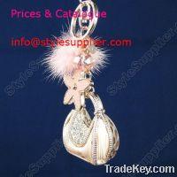 Wholesale Crystal Bag keychain, leather keychain