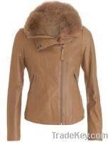 New Design Ladies Leather Fur Jacket