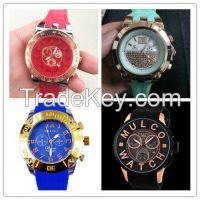 New Brand Unisex Analog Rose Gold Bezel Colorful Silicone Band Mulco Watch with Calendar