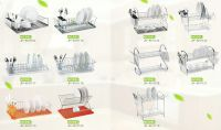 dish rack (with plastic tray or plastic/wood handle)