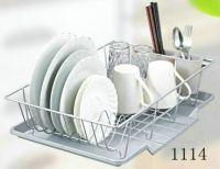 dish rack with plastic tray 1114