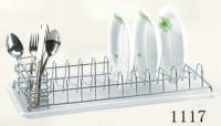 dish rack with plastic tray