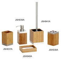 bathroom set with bamboo