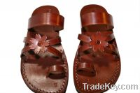 Brown Flower-Cross Leather Sandals - SALE