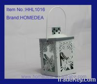 Sell White metal lantern with butterfly HHL1016
