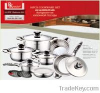 16pcs stainless steel wide edge cookware set stock for sales