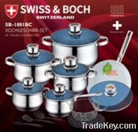 18pcs stainless steel wide edge cookware set stock for sales