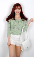 Woman Lovely Lace Neck Point T-shirt From Korean sytle