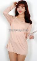 Woman Basic V-neck Long T-shirt From Korean sytle