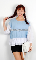Cool colors mixed women blouse top from korean style