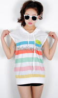 Mixed color sleeveless hooded t-shirt from korean style