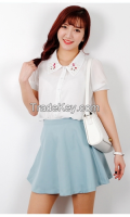 Collar-shaped jewelry women blouse from korean style