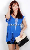 New Spring unbalanced mesh Woman knit From Korean sytle