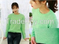 Women's Basic Type Knit Top Colorful Korean Style Winter Top