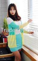 Women's three tone colors spring cardigan colorful