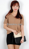 Incision type zipper women blouse from korean style