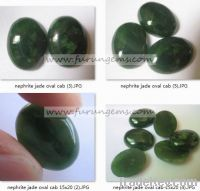 Sell natural green nephrite jade oval cabochons 15x20mm