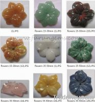 Sell natural semipreicous stones carved flowers 15-50mm