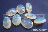 Sell White Opal Glass Oval Faceted Cut 8x12mm