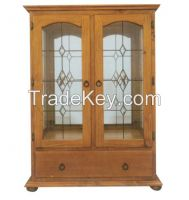 Pine wood living room furniture display cabinet