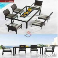 Sell TF-9106 glass top dining table set
