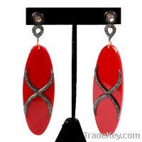 14K Gold Silver Diamond Bakelite Earring Jewelry